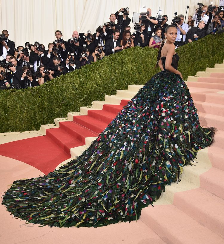 NEW YORK, NY - MAY 02: Zoe Saldana attends the 'Manus x Machina: Fashion In An Age Of Technology' Costume Institute Gala at Metropolitan Museum of Art on May 2, 2016 in New York City. (Photo by Dimitrios Kambouris/Getty Images)